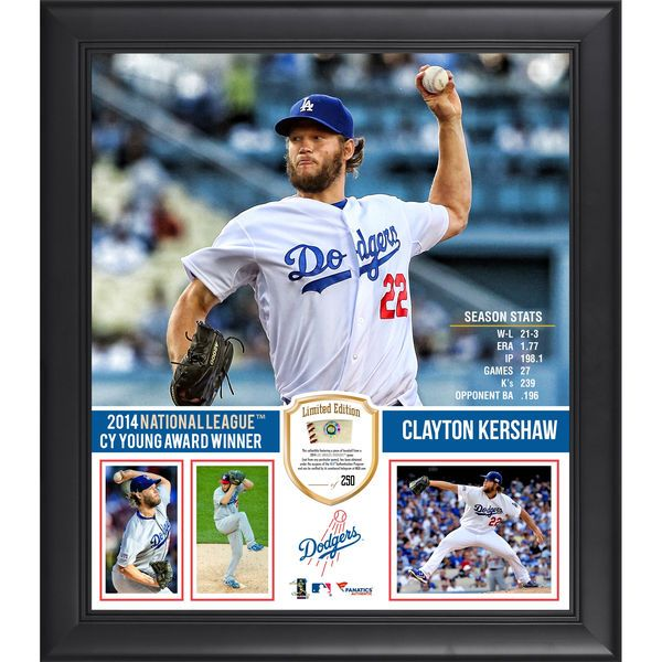 "Clayton Kershaw Los Angeles Dodgers Fanatics Authentic Framed 15"" x 17"" 2014 National League Cy Young Award Collage with Piece of Game-Used Baseball - Limited Edition of 250 - $89.99"