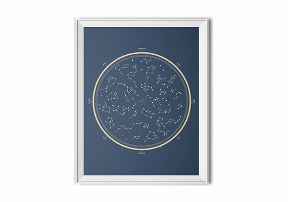 Star chart print, vintage star chart, minimal wall art, star map, constellation wall art, space decor, gift for him, nerdy gift,office decor