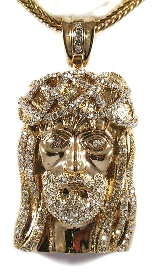 "Mens Hip Hop Iced Out 14K Gold Finish CZ Jesus Piece Pendant & 36"" Franco Chain…"