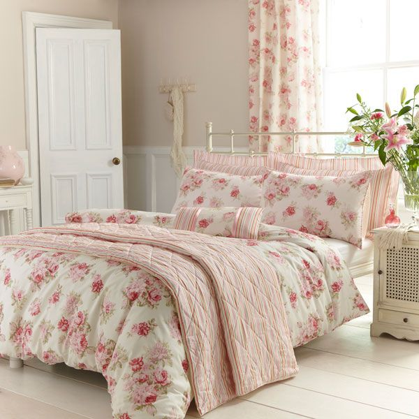 Classic pink and white Isabella bedding from Dunelm Mill - perfect for creating a cosy home bedroom.