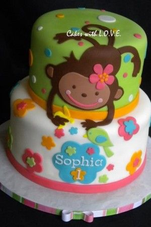 1st Birthday Cake Ideas for Girls Monkey cake