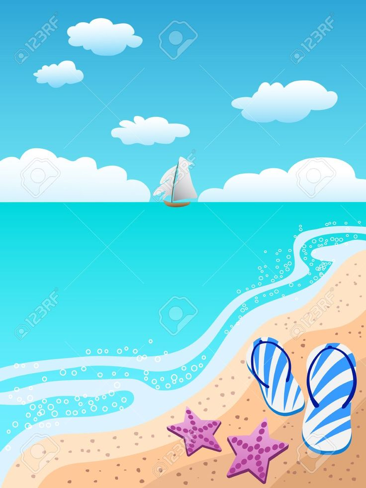 Paisaje en la playa. Unas sandalias, dos estrellas de mar y al fondo se ve un velero.