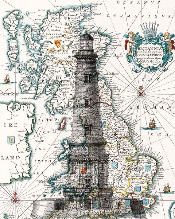 Lighthouse Print. Light house poster antique map by PrintLand do this and the neg. space is the map showing through the lighthouse slihouette. then dark sea and lights shining around to a boat. SAIL.