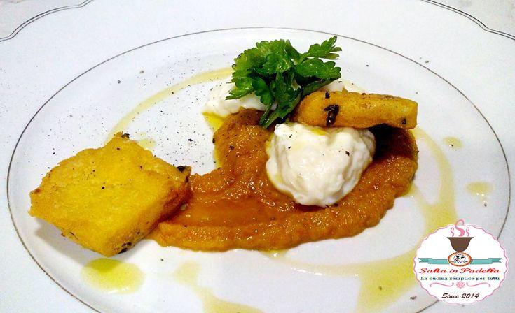 Crema di carote zenzero e curry con stracchino e panelle di ceci, farina di ceci, carote, zenzero, curry, stracchino, delattosato, Tomasoni, olio,sale, pepe