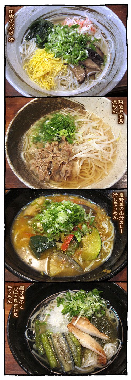 A variety of Japanese somen noodles 創作そうめん