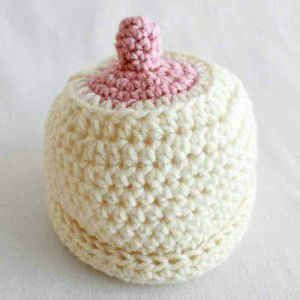 Knitted Boob Pattern : Free Crochet Pattern   Boob Hat #80 knitting and crochet Pinterest Baby...