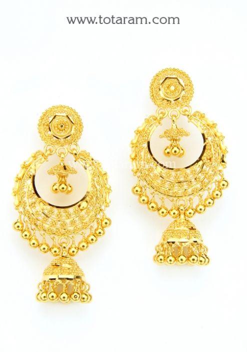 22K Gold Drop Earrings: Totaram Jewelers: Buy Indian Gold jewelry & 18K Diamond jewelry
