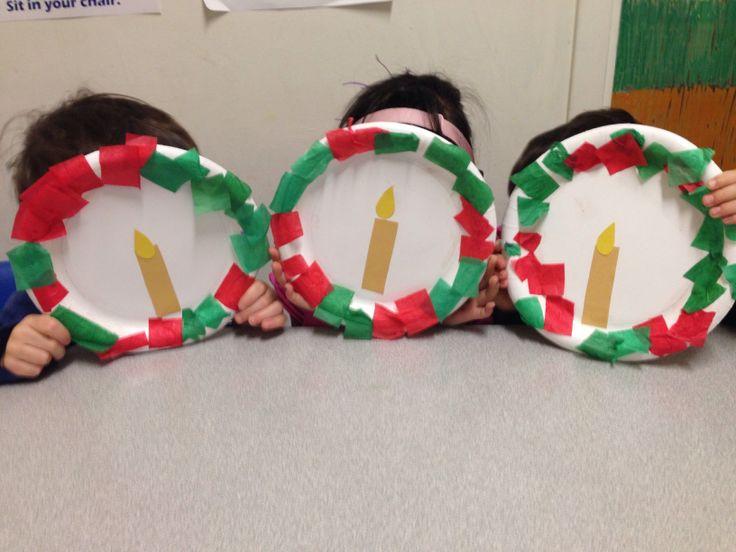 Speech therapy Christmas craft #wreath #preschool #craft #candle