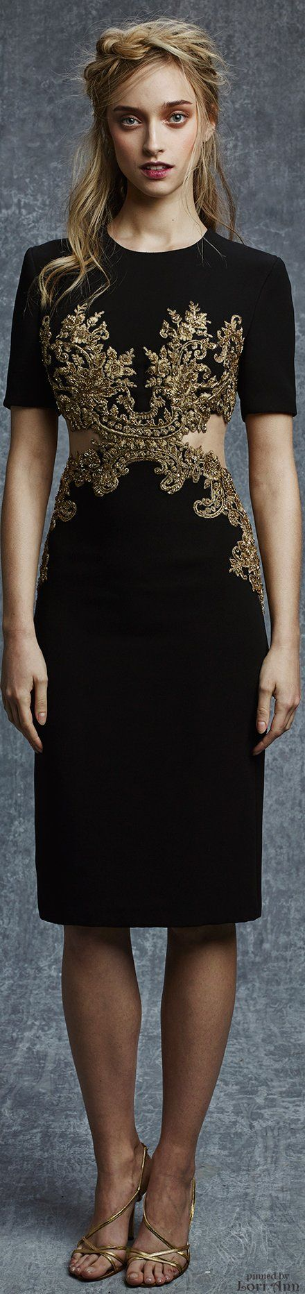Reem Acra Pre-Fall 2015. Awesome dress, even if the model does look like she's straight off the set of the Walking Dead.