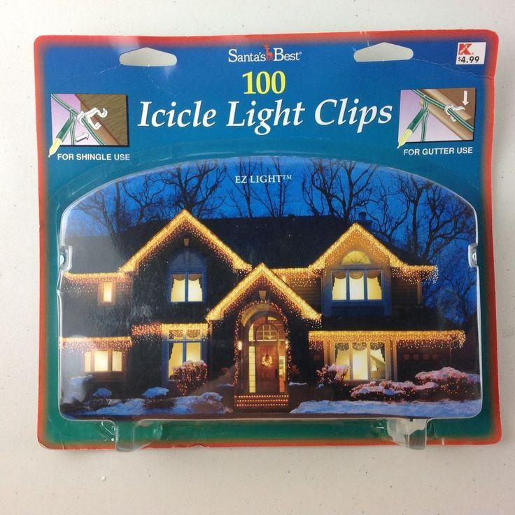 Santa's Best 100 Count Icicle Light Shingle/Gutter Clip Christmas New #SantasBest
