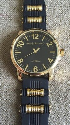 Frank Bernard's Men's GOLD BRIM Numbered High Fashio Watch