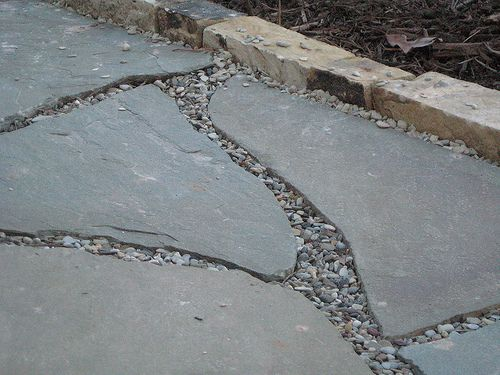 Bed edging stone, flagstone walk and glacial pea gravel by Piedmont Environmental Landscaping and Design, via Flickr