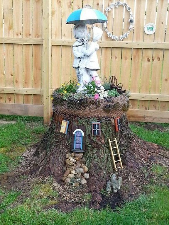 20 Creativity Ideas With Tree Stump For Your Outdoor Fairy Tree