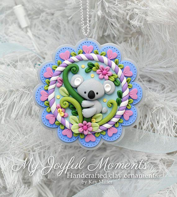 Handcrafted Polymer Clay Koala Bear Scene por MyJoyfulMoments