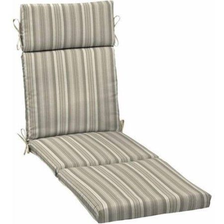 Better Homes and Gardens Outdoor Patio Chaise Lounge Cushion, Multiple Patterns Available, Gray