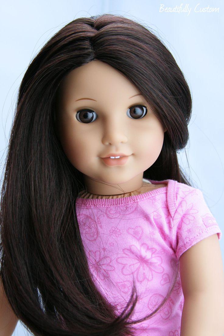 Custom American Girl Doll Deep Brown Eyes And Black Dark