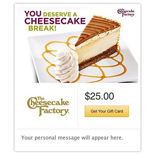 The Cheesecake Factory You Deserve a Cheesecake Break White Gift Cards  Email Delivery -- Visit the image link more details. Note:It is affiliate link to Amazon.