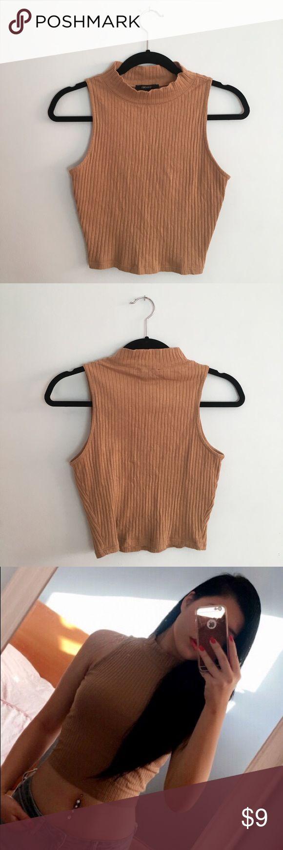 camel cropped mock neck shirt ribbed crop top Forever 21 Tops Crop Tops