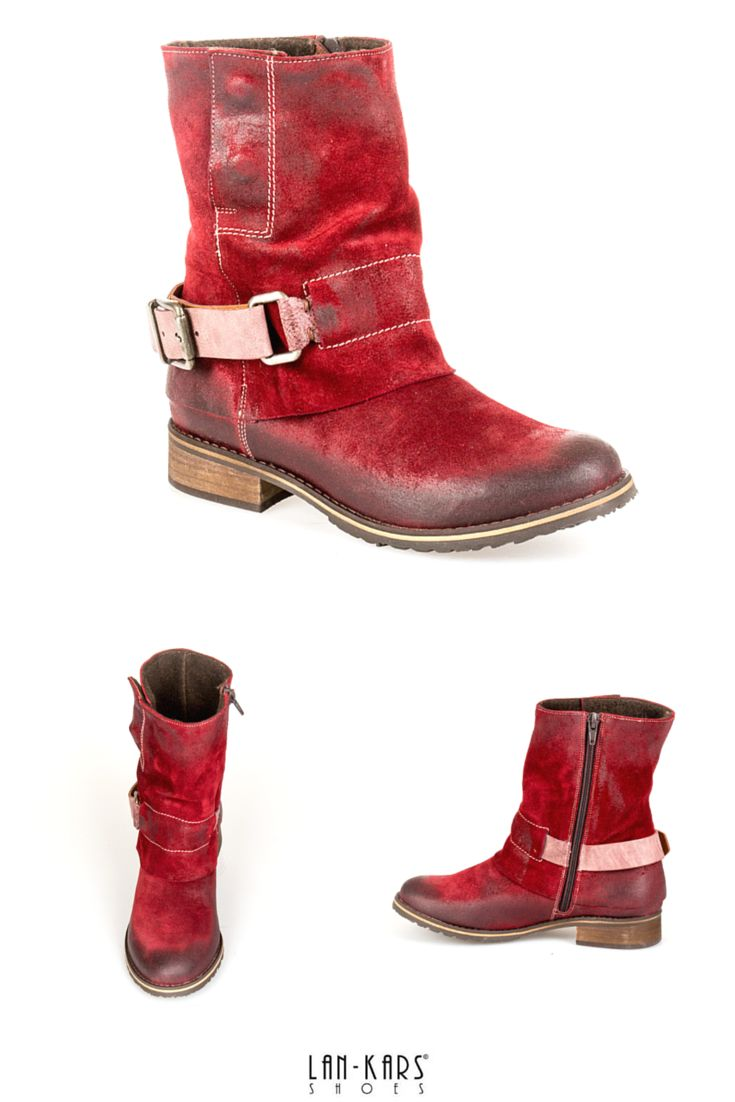 Ogniste czerwone botki na wygodnym płaskim obcasie dostępne na: http://lan-kars.com/p/436-botki