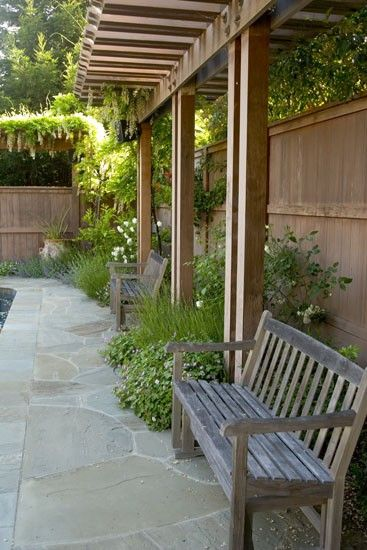 pergola along fence...This would sure help the privacy issue.