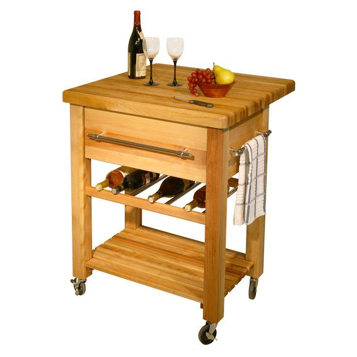 """Catskill Grand Island Wine Cart - 29""""x29""""x1.75""""  Drop-Leaf Butcher Block Top at http://butcherblockco.com"""