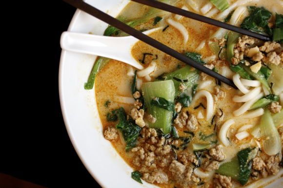 Tan Tan Udon ~ udon noodles in a spicy miso soup with soy milk, ground sesame, pork and bok choy