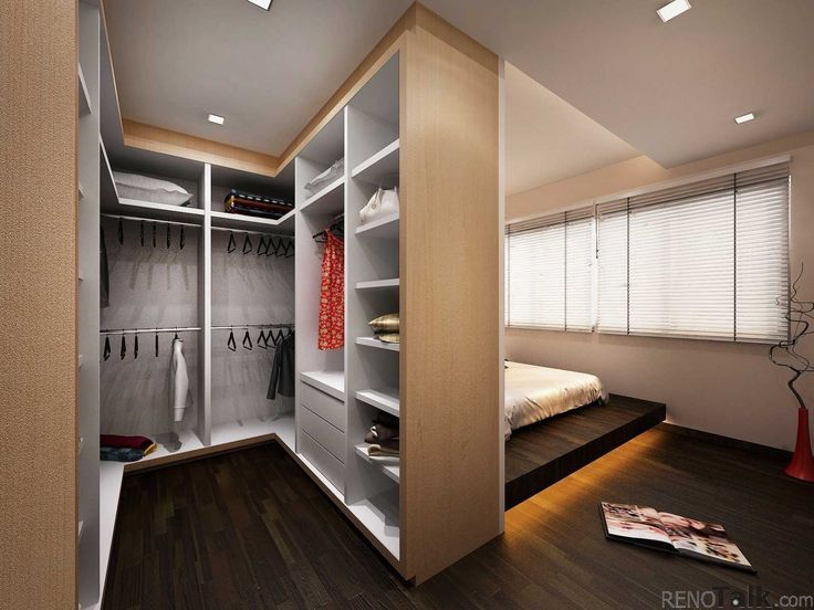 What if he entrance, kitchen, living room were behind the closet and bed and the bathroom and sitting area were open to the closet