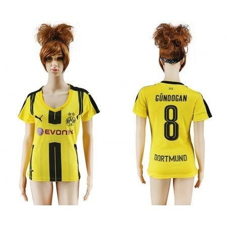 BVB Trøje Dame 16-17 Ilkay #Gundogan 8 Hjemmebanetrøje Kort ærmer,208,58KR,shirtshopservice@gmail.com