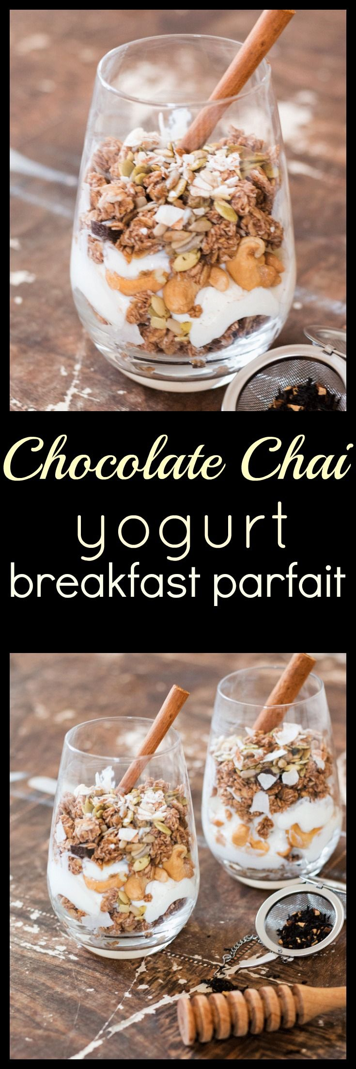 Chai infused yogurt and local raw honey combines with crunchy granola, nuts and seeds to bring you this delightful chocolate chai yogurt breakfast parfait via @wholefoodbellies