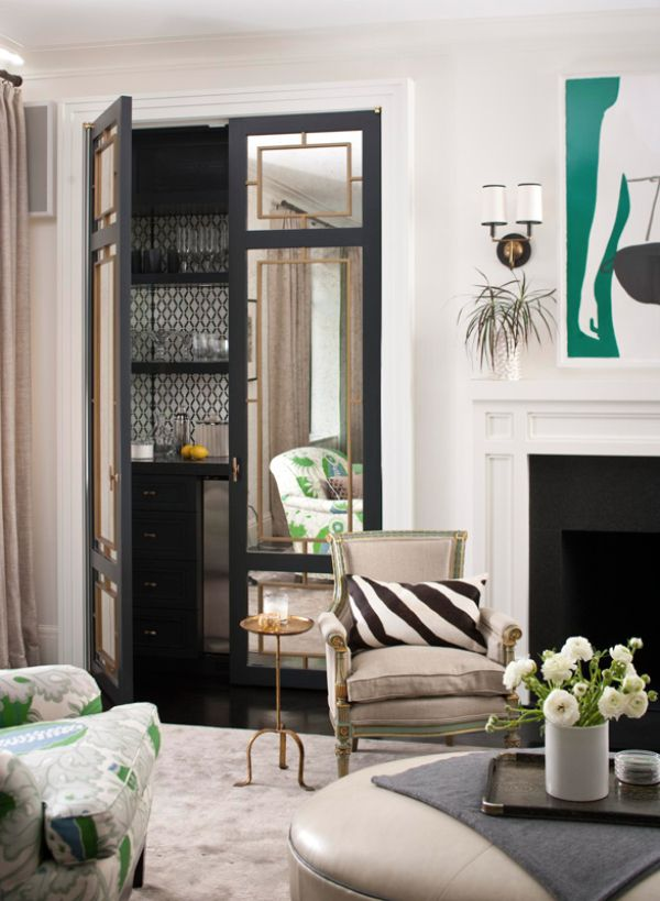 Lovely For Stealth Storage, Designer Christina Murphy Added Mirrored Doors That  Hide A Glam Bar In · City ApartmentsFrench InteriorsTraditional ... Awesome Design