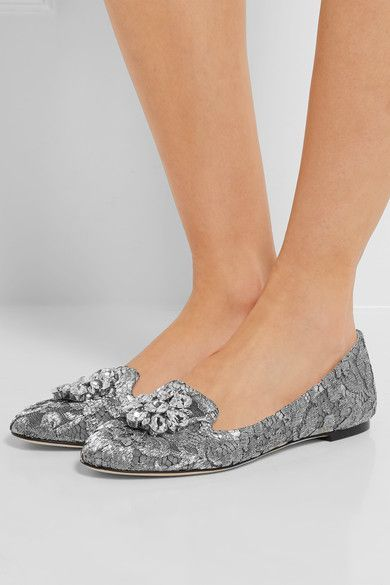 Dolce & Gabbana - Embellished Lace-covered Mesh Ballet Flats - Silver - IT39.5