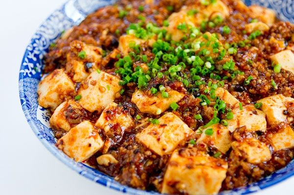 Sichuan Mapo Tofu (translation: Old Pockmarked Grandmother Bean Curd).  Sounds appetizing, huh?  Actually, it is!