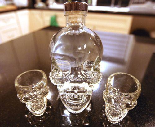 Skull alcohol bottle, skull shot glasses