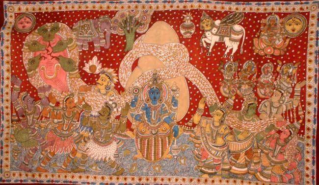 The churning of the ocean, in a kalamkari version