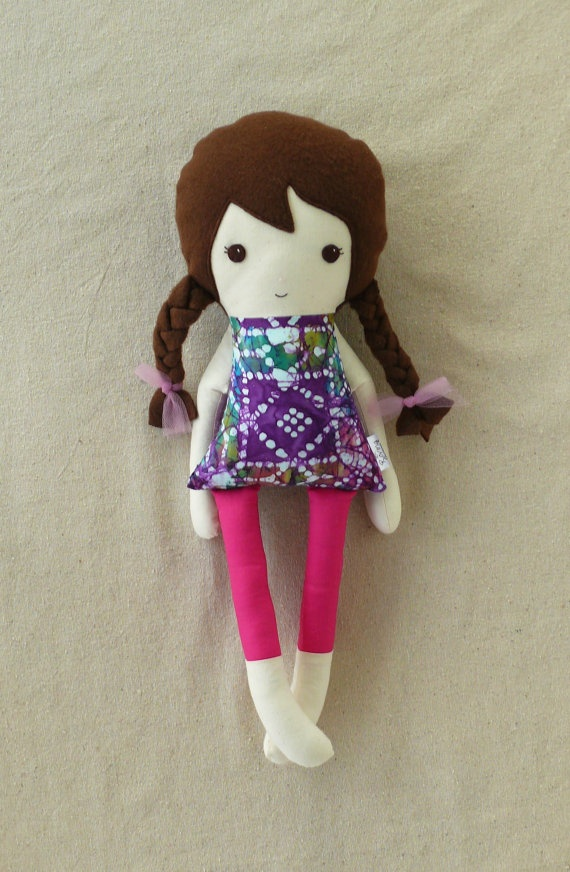Fabric Doll Rag Doll with Purple Tie Dyed Top by rovingovine, $32.00