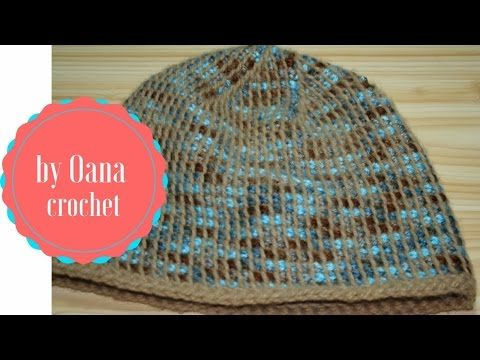 Tunisian Crochet Hat In The Round by Oana, with decreased top, fsc foundation round (double-ended crochet hook, crochenit, crohook, croknit, on-the-double crochet, etc) ouTube