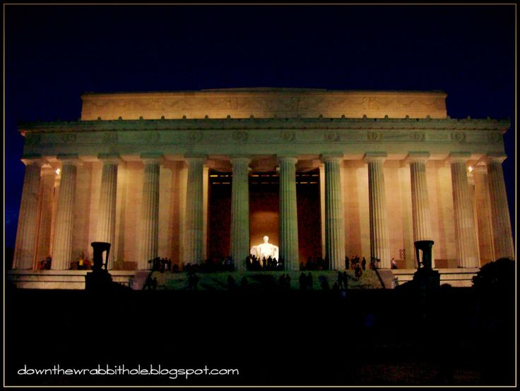 "Take a ""Monuments by Moonlight"" tour of Washington DC - so beautiful! Find out more at ""Down the Wrabbit Hole - The Travel Bucket List"". Click the image for the blog post."