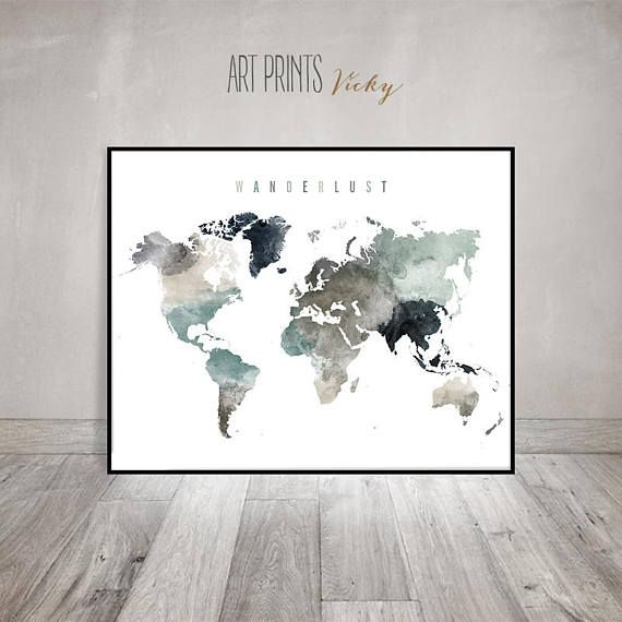 wanderlust world map poster world map wall art world map