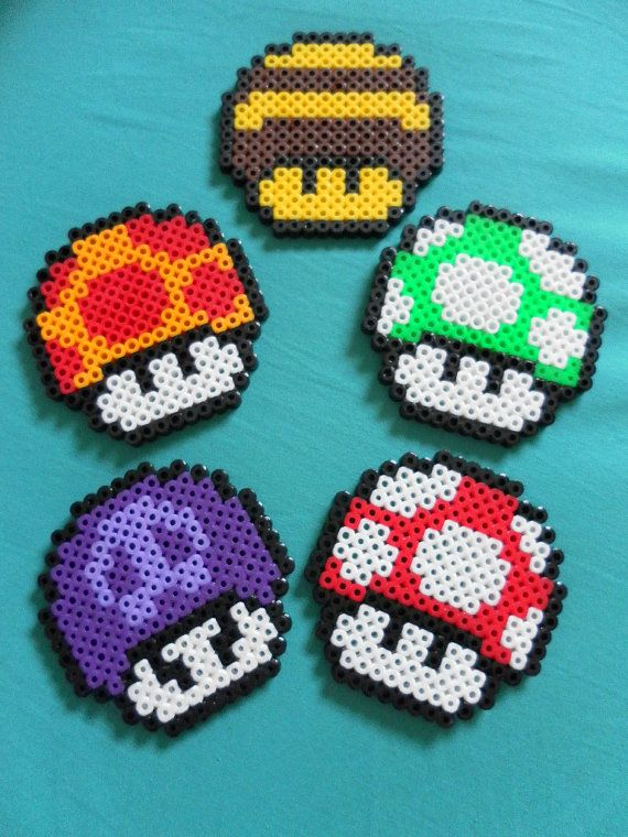 Nintendo Super Mario Bros Mushroom coaster perler beads by PorcupineSpines