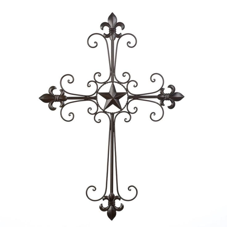 "TEXAS LONE STAR CROSS Wall Decor Wrought Iron LARGE 24.50"" High Home living room"
