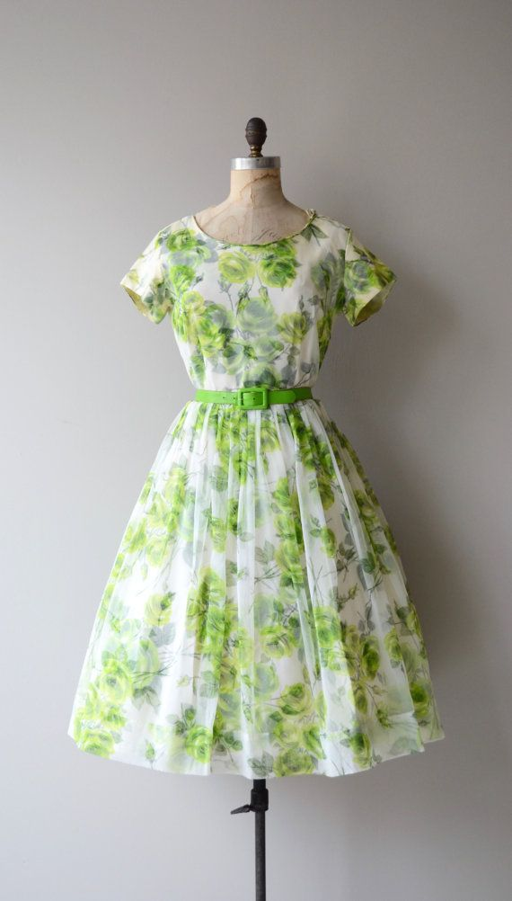 Vintage 1950s light and airy spring green floral chiffon dress with short…