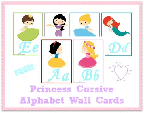 Princess Cursive Alphabet Wall Cards (Free)