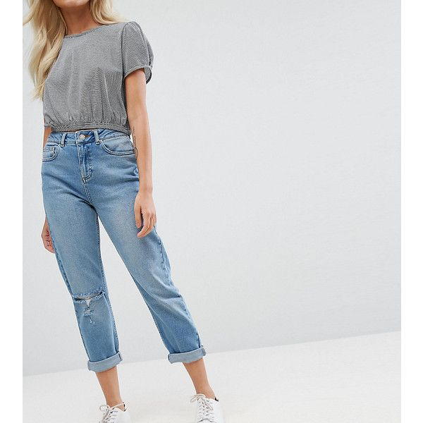 Miss Selfridge Petite Mom Jeans (£43) ❤ liked on Polyvore featuring jeans, blue, petite, high waisted blue jeans, slim ripped jeans, destroyed jeans, petite jeans and relaxed fit jeans