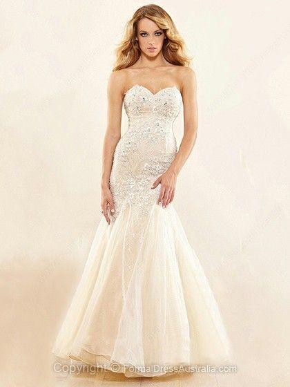 Trumpet/Mermaid Satin Tulle Sweetheart Beading Floor-length Formal Dresses -AU$213.49
