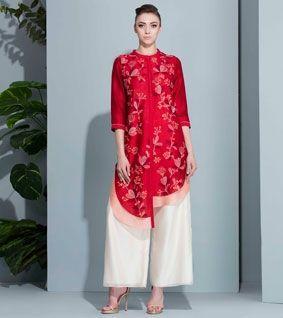 Red Chanderi Printed Tunic