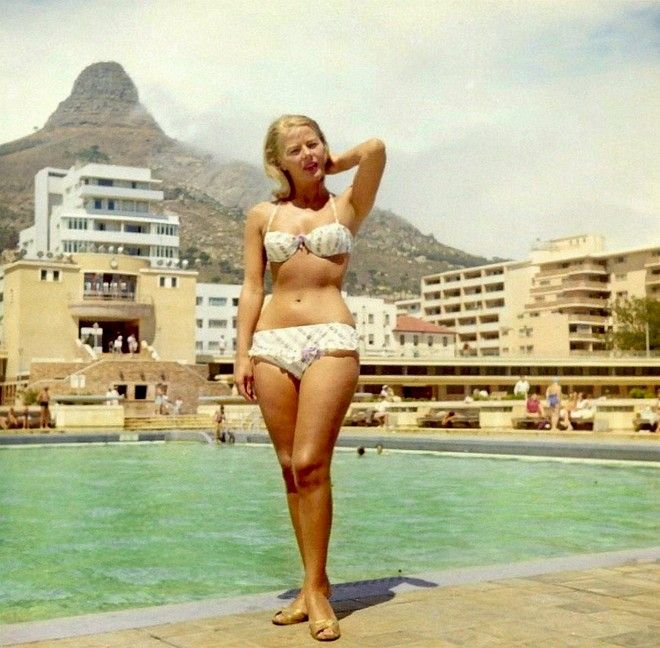Posing at the Sea Point pool, 1960