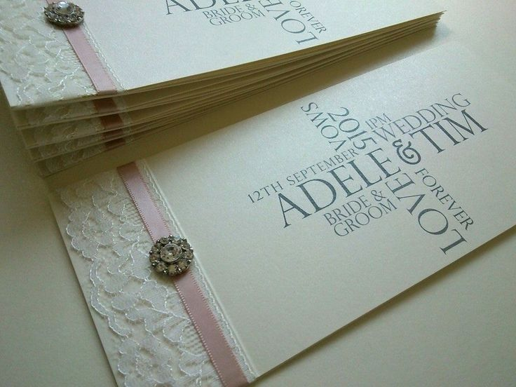 Cheque Book Style Wedding Invitation With Vanilla Pink Satin, Ivory Lace  And Gorgeous Large Crystal