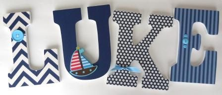 Wooden Letters for Boy Nursery - Sailboat Sailing Theme - Nautical Baby Shower Gift - Custom Name Set by LetterLuxe on Etsy