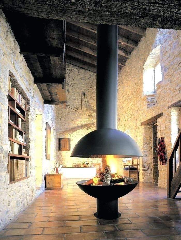 Diy Indoor Stone Fireplace Round Wood Burning Open Middle Of Room