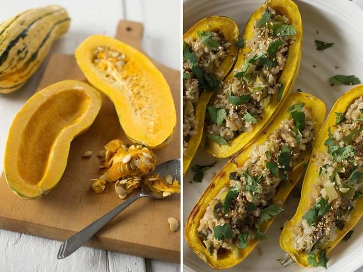 Rice, Mushroom & Leek Stuffed Delicata Squash | Spirituality & Health...